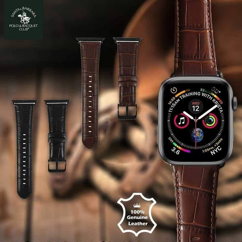 Santa Barbara Polo Racquet Genuine Leather Strap For Apple Watch 42 44mm Black (2)