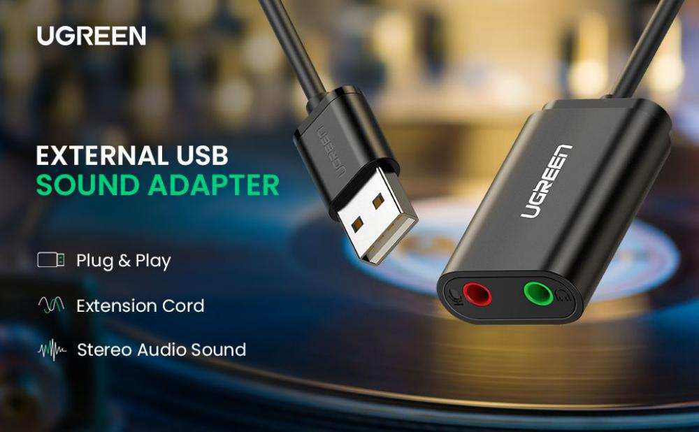 Ugreen Usb Audio Adapter External Stereo Sound Card With 3 5mm Headphone And Microphone Jack (2)