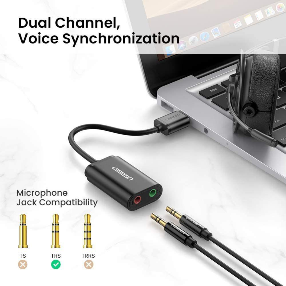 Ugreen Usb Audio Adapter External Stereo Sound Card With 3 5mm Headphone And Microphone Jack (3)