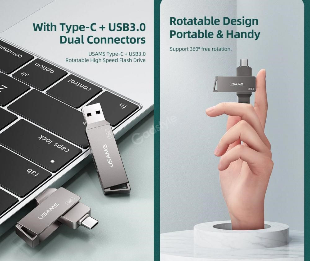 Usams Type Cusb3 0 Rotatable High Speed Flash Drive 128gb 256gb (1)