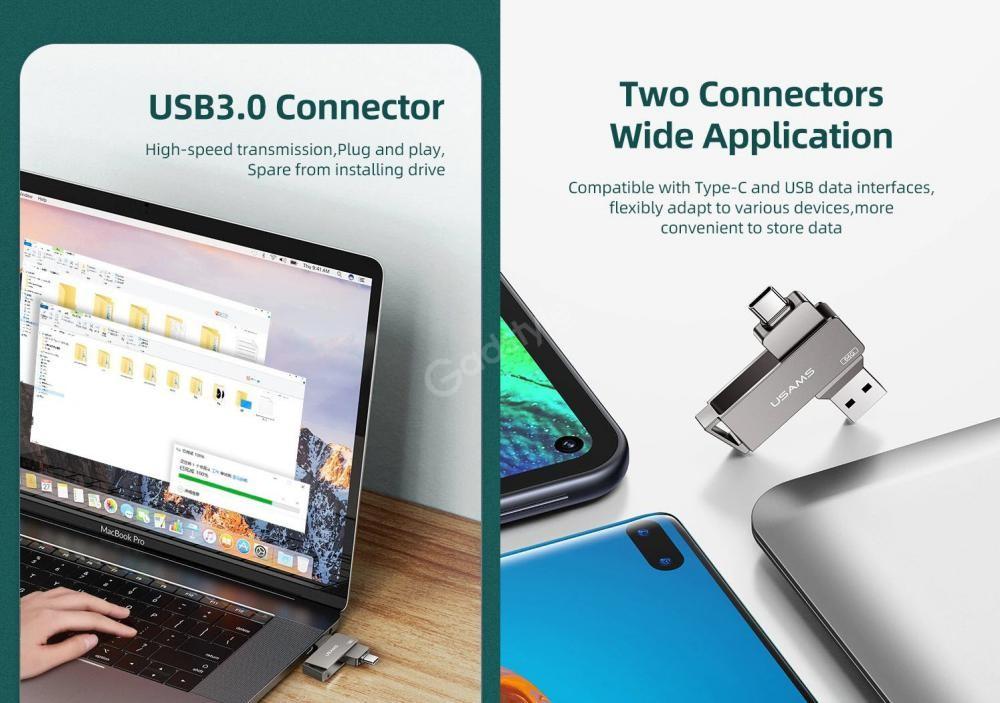 Usams Type Cusb3 0 Rotatable High Speed Flash Drive 128gb 256gb (2)