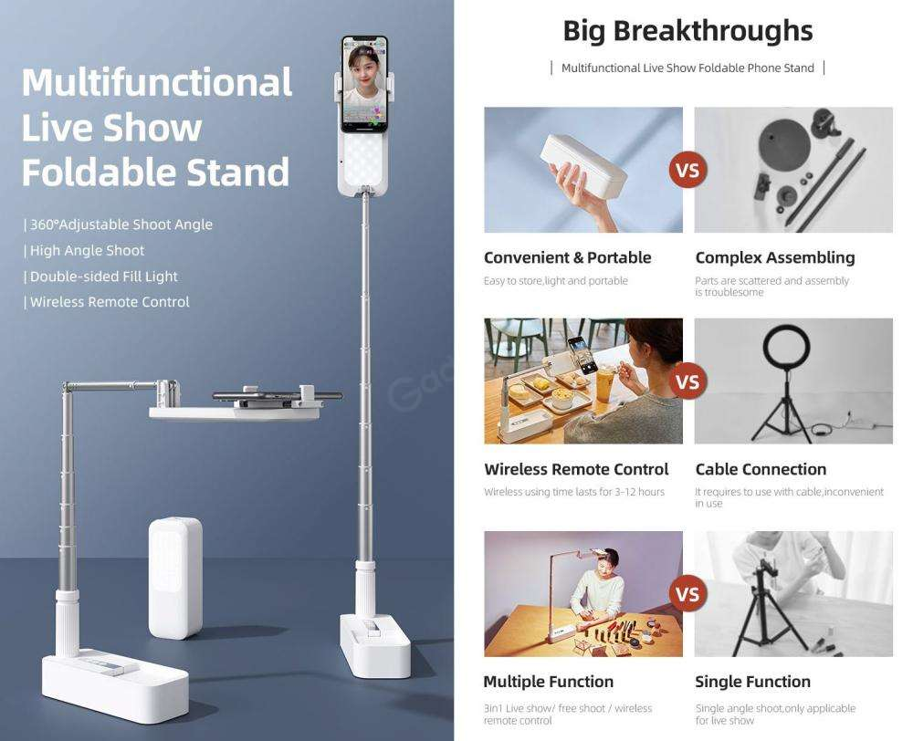 Usams Us Zb209 Portable Wireless Remote Control 3in1 Phone Holder Stand (5)