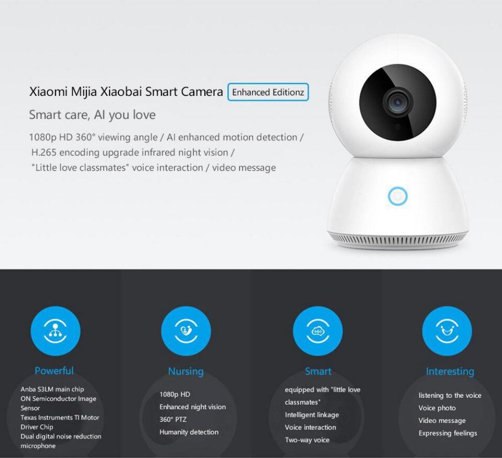 Xiaomi Mijia Xiaobai Mjsxj03cm Smart 1080p Wifi Ip Camera Enhanced Edition (3)