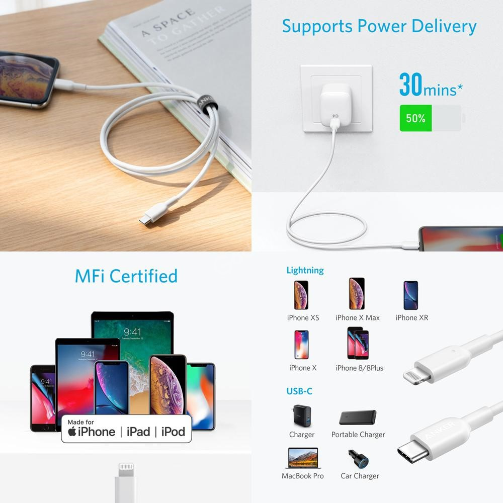 Anker Powerline Ii Usb C To Lightning Cable 3ft Apple Mfi Certified (2)