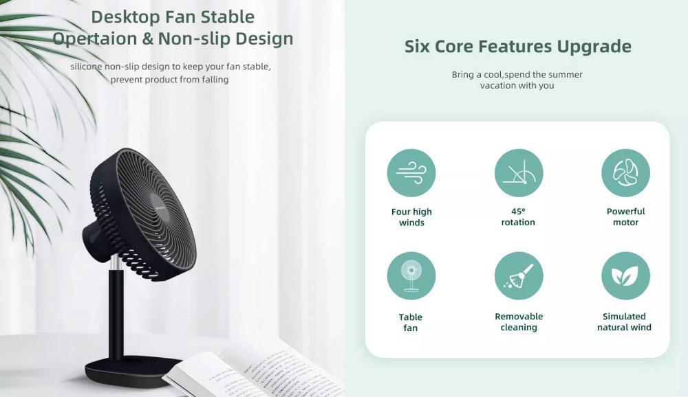 Awei F23 Mini Portable Usb Rechargeable Desk Fan (2)