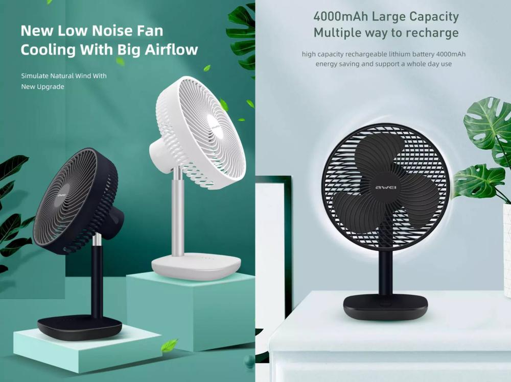 Awei F23 Mini Portable Usb Rechargeable Desk Fan (3)