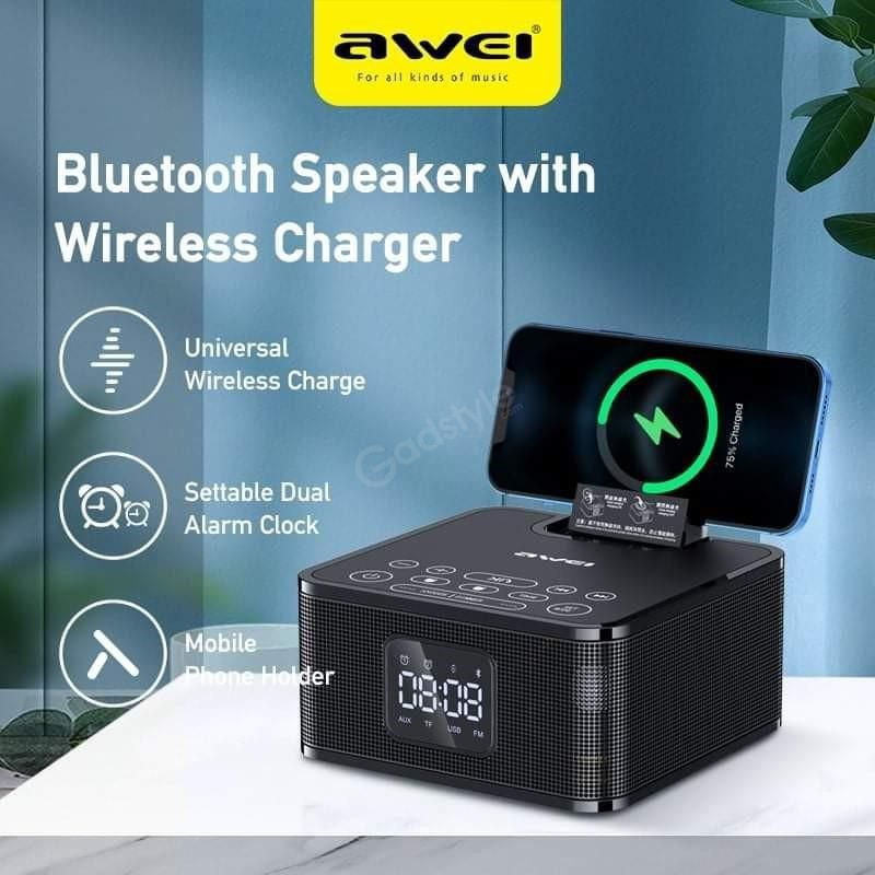 Awei Y332 Multifunction Wireless Speaker With Power Bank And Clock (8)