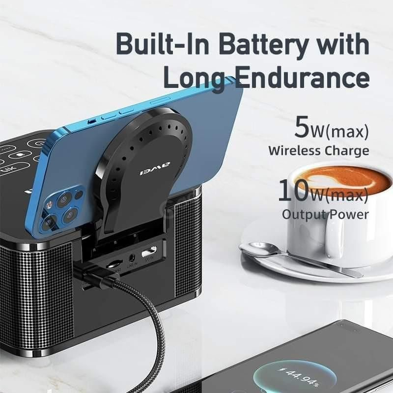 Awei Y332 Multifunction Wireless Speaker With Power Bank And Clock (9)