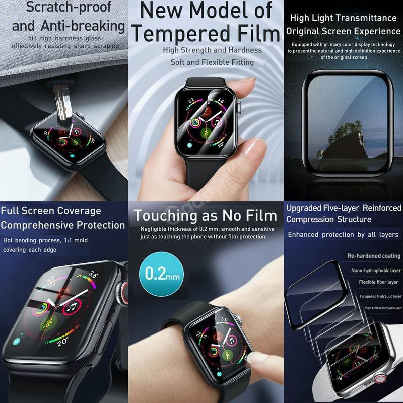Baseus Full Screen Curved Tempered Glass Soft Screen Protector Ap Watch 44mm (2)