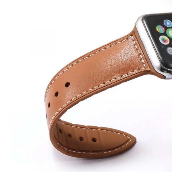 Genuine Leather With Silicone Strap Band For Apple Watch 42 44mm (1)