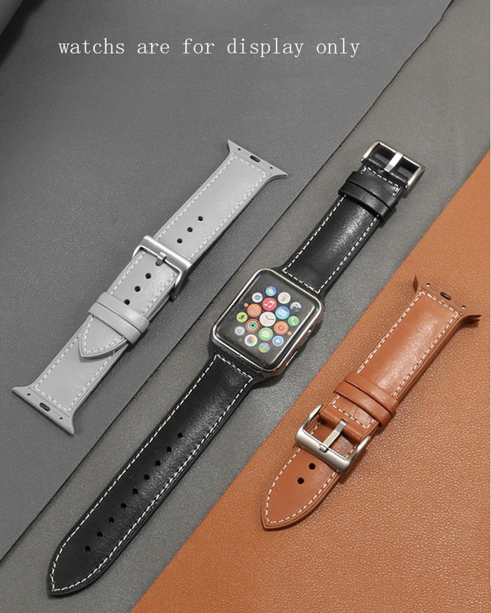 Genuine Leather With Silicone Strap Band For Apple Watch 42 44mm (12)