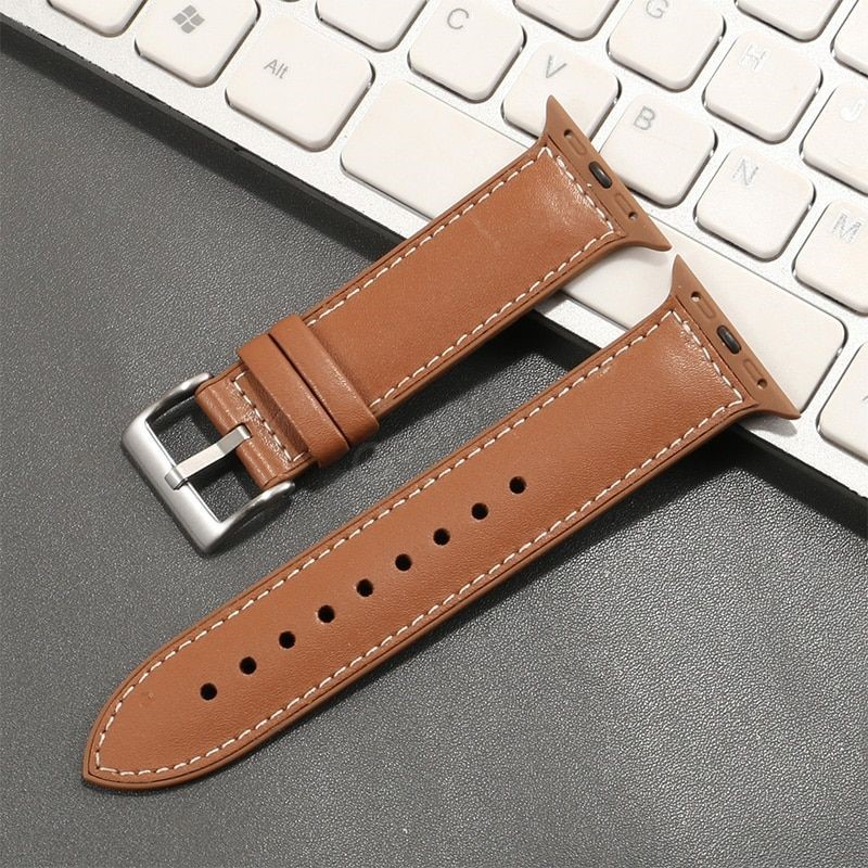 Genuine Leather With Silicone Strap Band For Apple Watch 42 44mm (2)