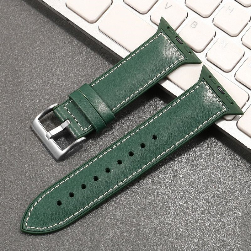 Genuine Leather With Silicone Strap Band For Apple Watch 42 44mm (3)