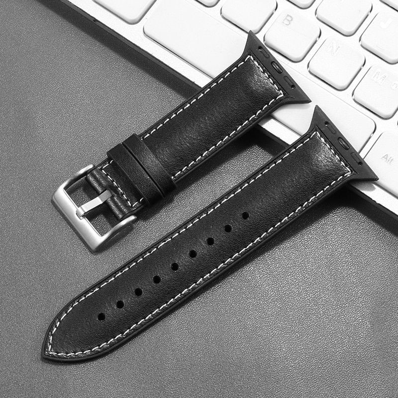 Genuine Leather With Silicone Strap Band For Apple Watch 42 44mm (4)