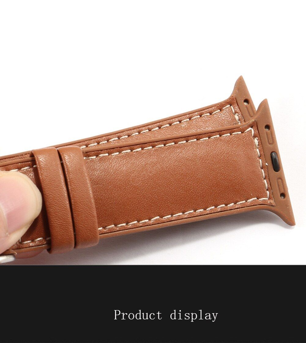 Genuine Leather With Silicone Strap Band For Apple Watch 42 44mm (6)