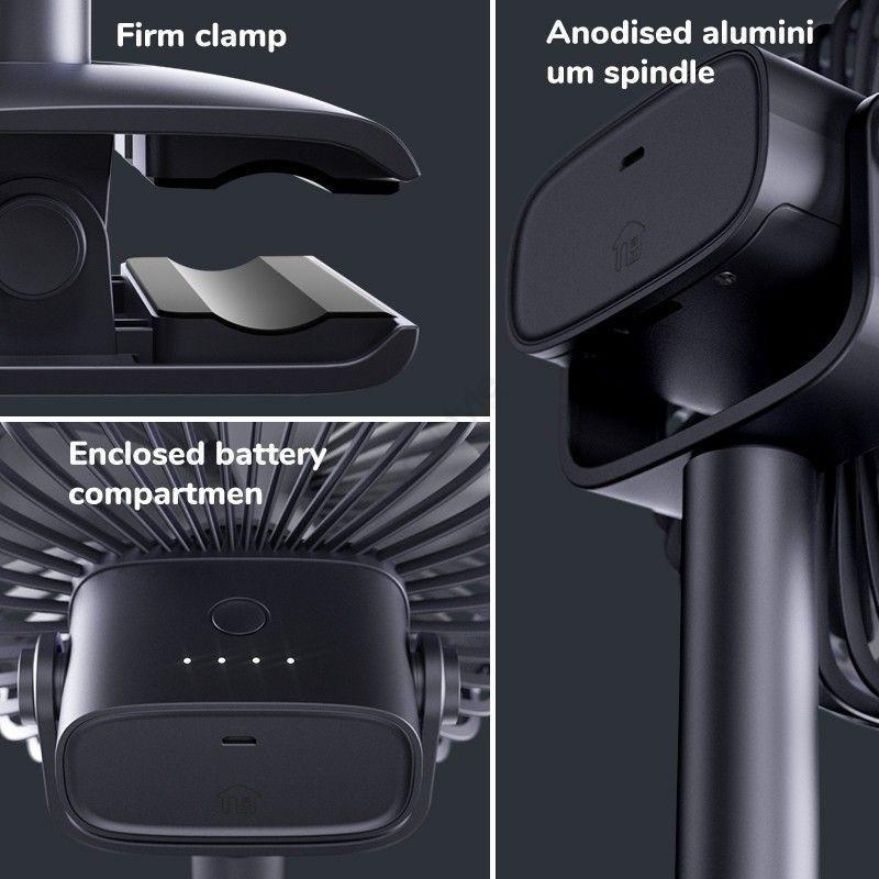 Jifulife F7bclip Fan 4000mah Battery 4 Speed Table Fan (4)