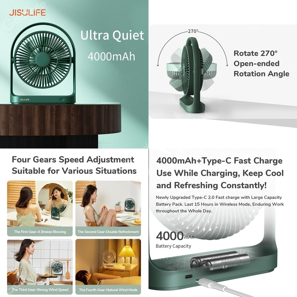 Jisulife Fa19 Usb Portable Rechargeable Fan 4000mah Battery With Type C Charging Port ( (3)