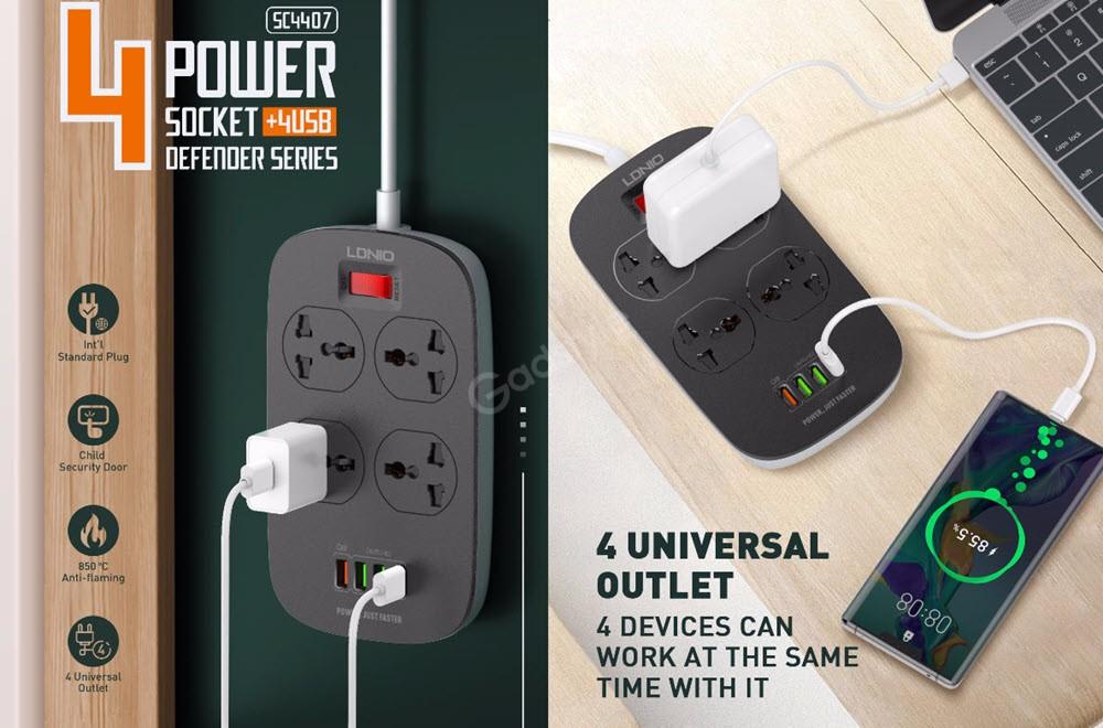 Ldnio 2500w Power Socket 4 Usb Defender Series Adapter (2)