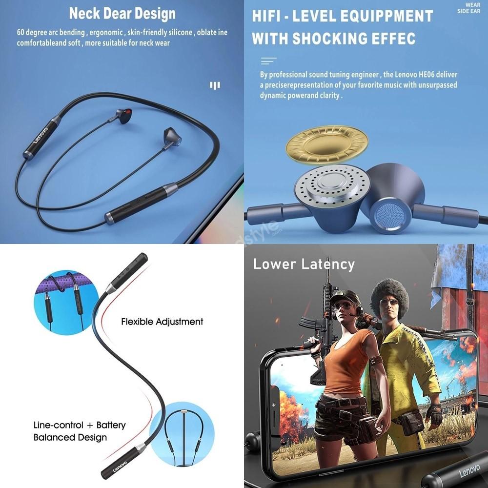 Lenovo He06 Wireless Neckband Headphones With Mic (2)