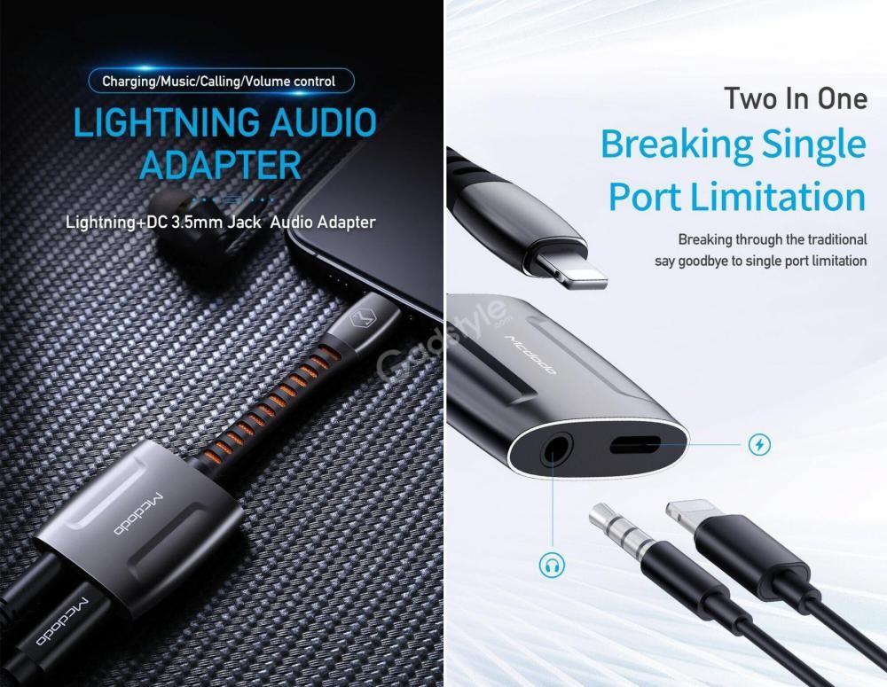 Mcdodo Lightning To Lightning Dc 3 5mm Audio Adapter Converter (2)
