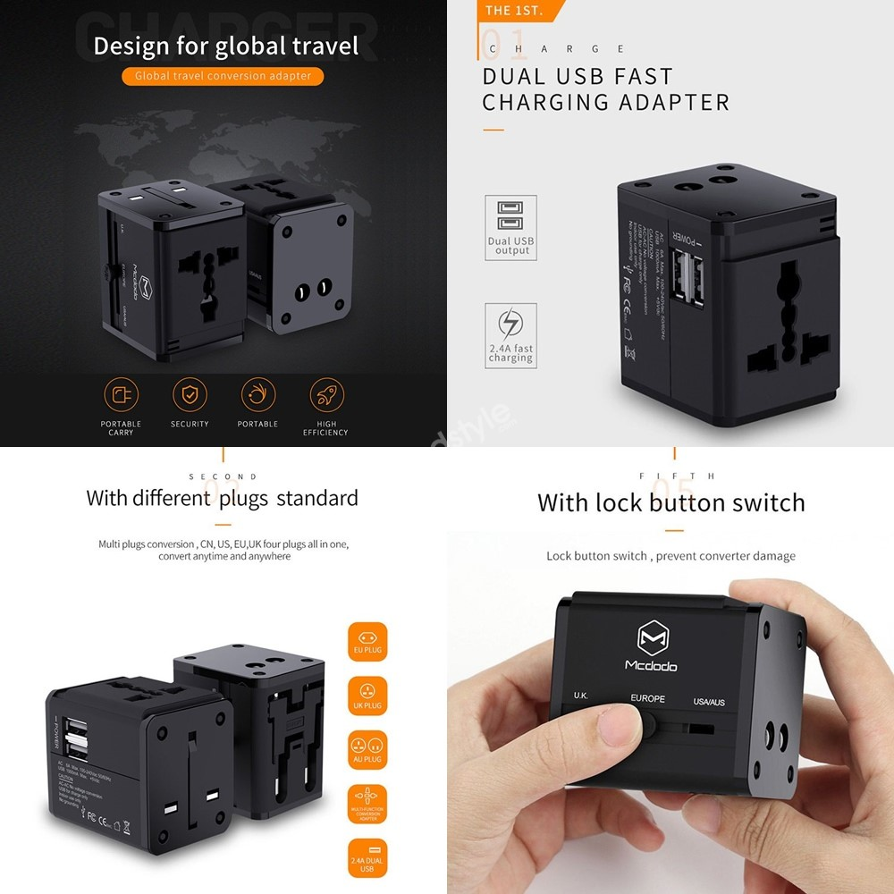 Mcdodo Universal Travel Charger With Dual Usb Ports (1)