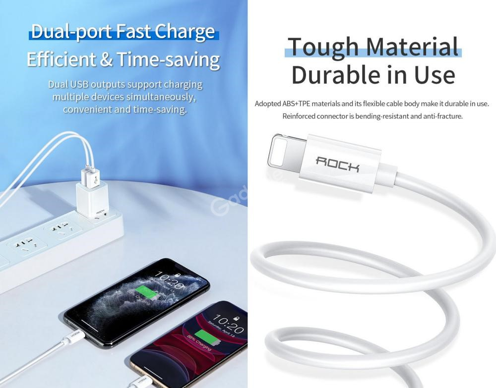 Rock T23 Double Port Travel Charger With Lighting Charge Sync Cable Set (3)