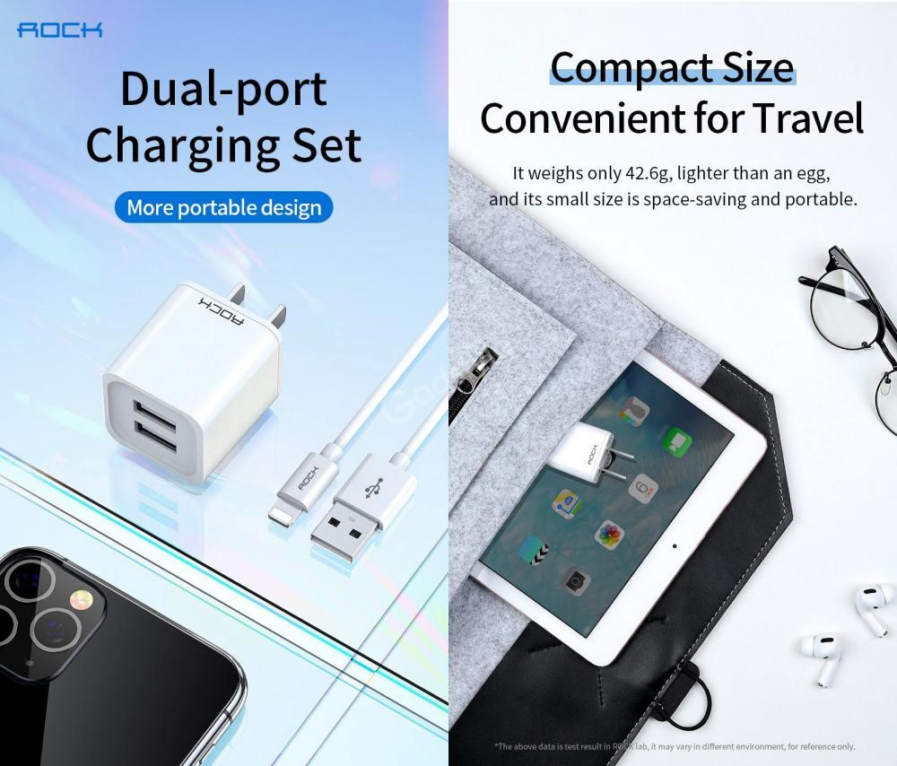 Rock T23 Double Port Travel Charger With Lighting Charge Sync Cable Set (4)