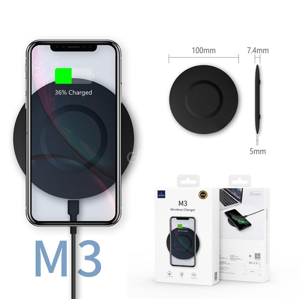 Wiwu M3 Type C 15w Fast Wireless Charger Charger Pad (3)