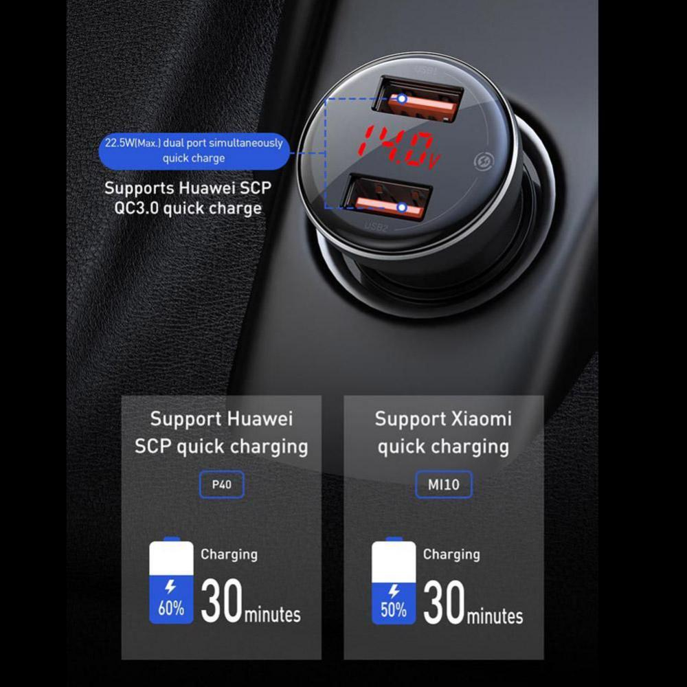 Baseus 45w Dual Usb Car Charger Digital Display With Type C Cable (1)