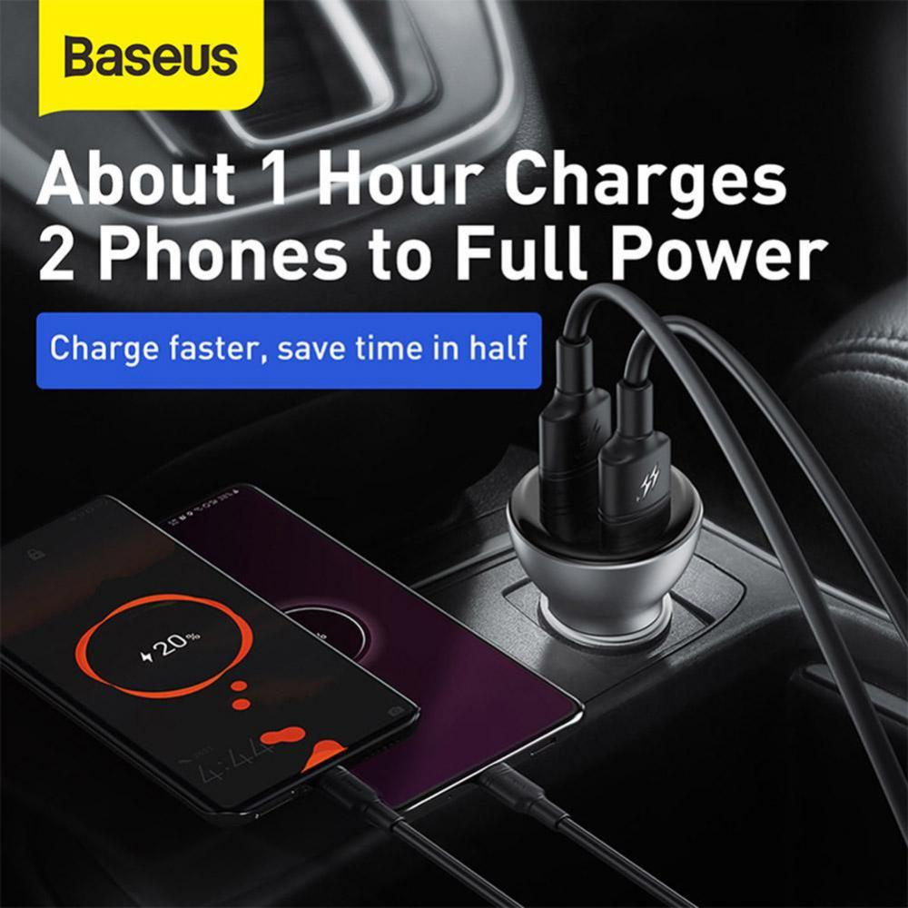 Baseus 45w Dual Usb Car Charger Digital Display With Type C Cable (10)
