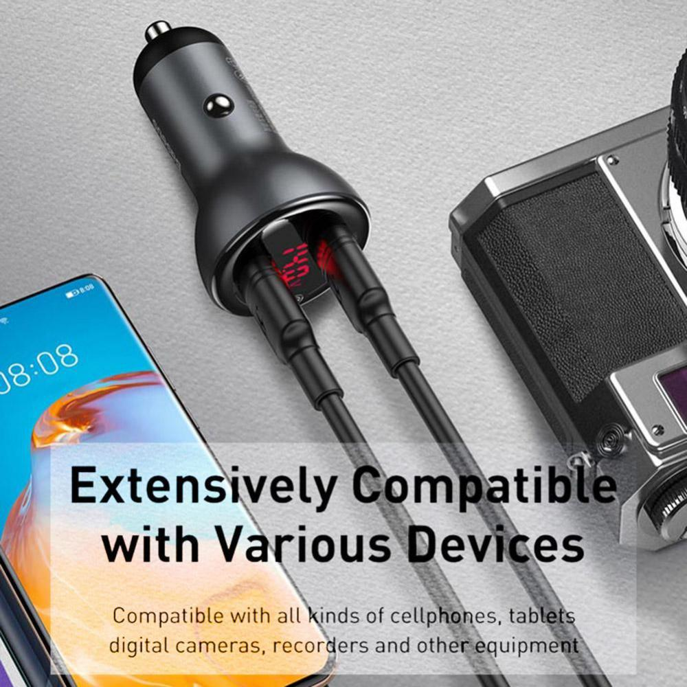 Baseus 45w Dual Usb Car Charger Digital Display With Type C Cable (7)