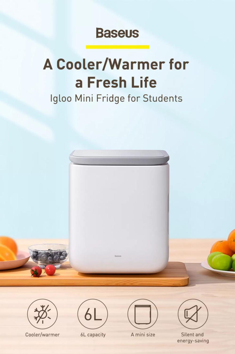 Baseus Igloo Mini Fridge For Students 6l Cooler And Warmer (2)