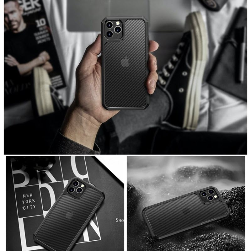 Carbon Fiber Textures Shockproof Bumper Case For Iphone 12 Iphone 11 11 Pro 11 Pro Max (1)