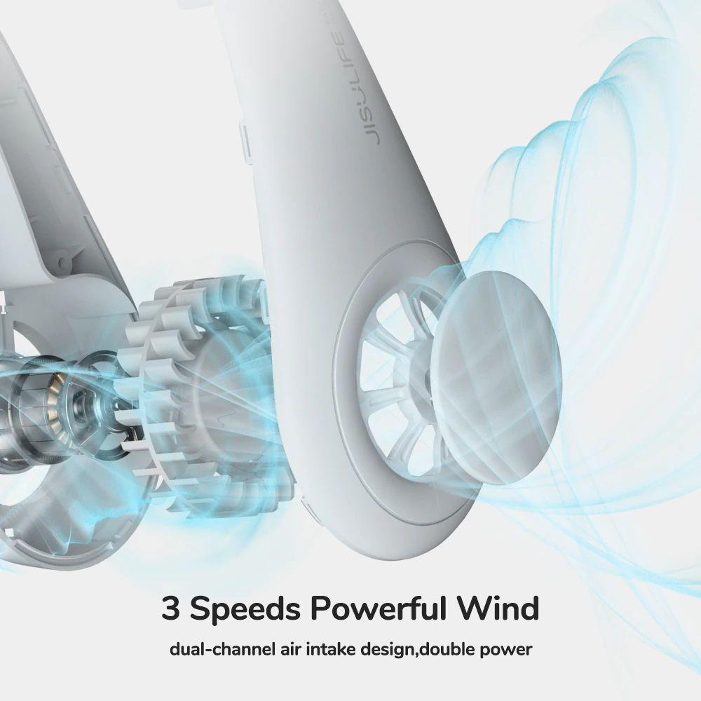 Jisulife Neck Fan Rechargeable Fan 4000mah Silent Usb Portable Bladeless Fan (1)
