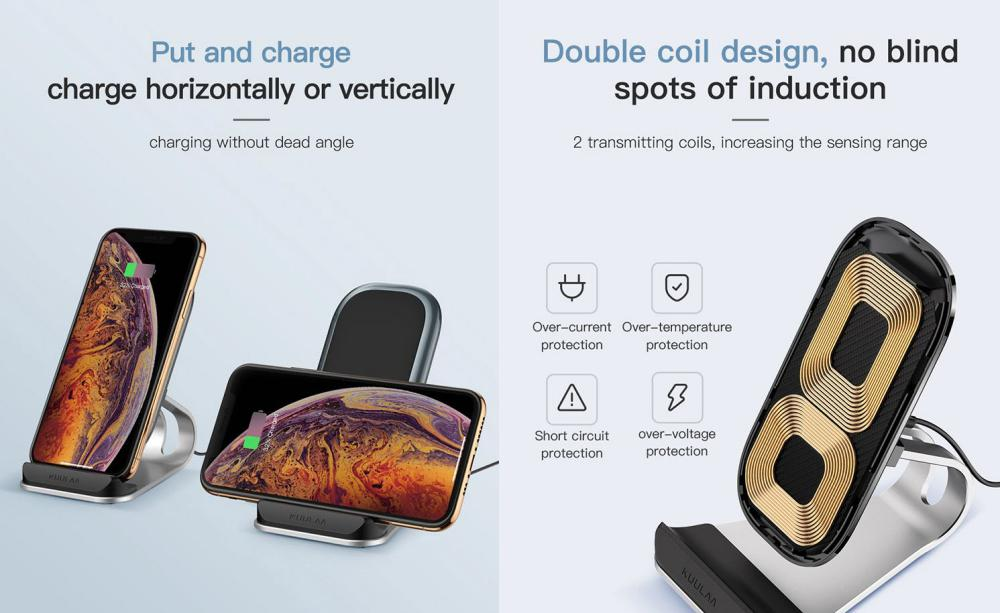 Kuulaa Kl Zj01 Wireless Charge Stand Double Coil Fast Charge 10w (2)
