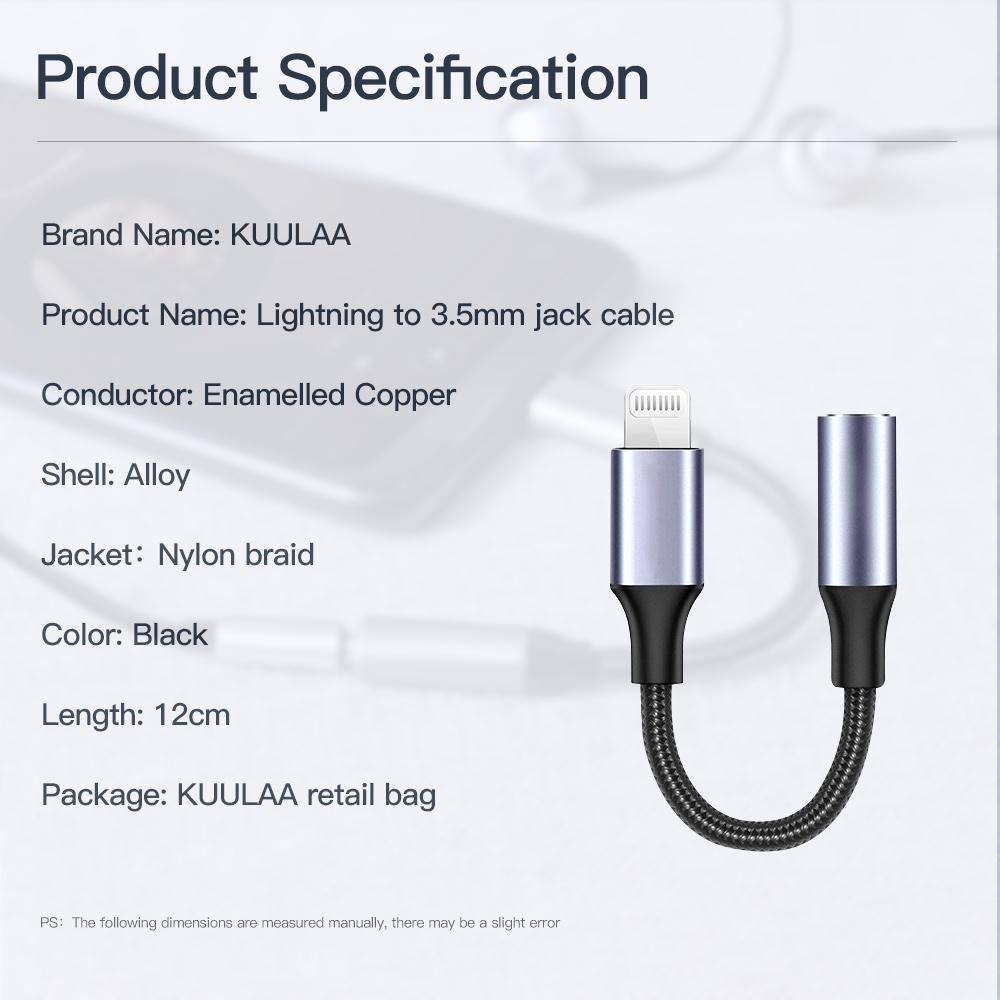 Kuulaa Lightning To 3 5mm Jack Audio Cable Adapter (1)