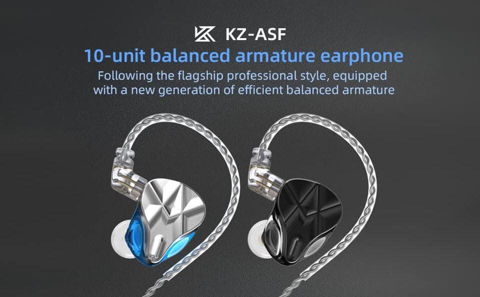 Kz Asf Earphones 10 Ba Units Hifi Bass Balanced Armature Earphones Black (1)