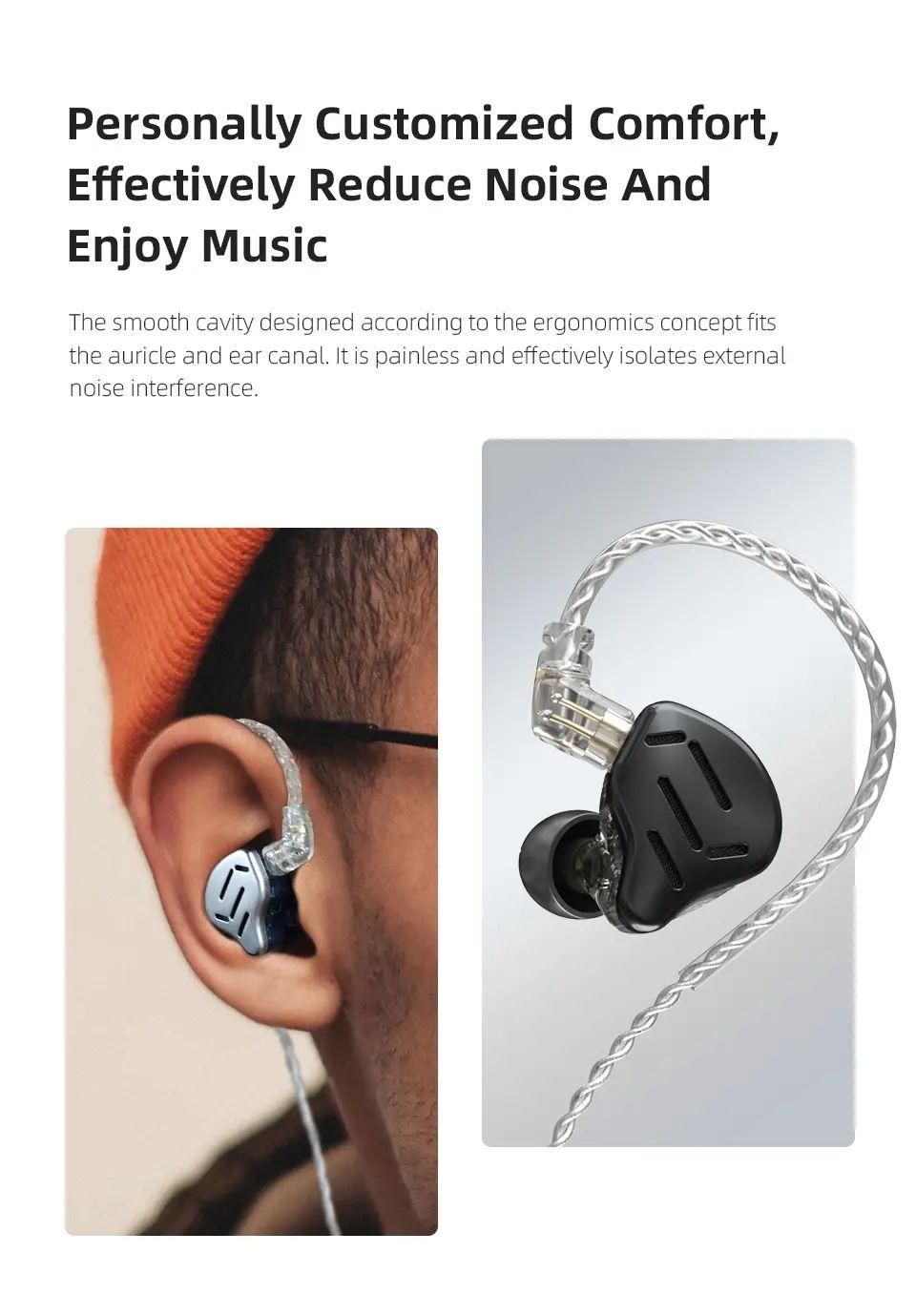 Kz Zax 1dd7ba Hybrid Driver Hifi In Ear Earphones (3)