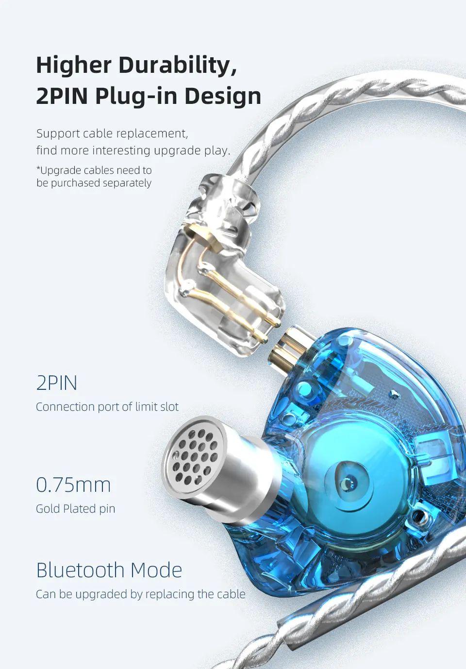 Kz Zax 1dd7ba Hybrid Driver Hifi In Ear Earphones (6)