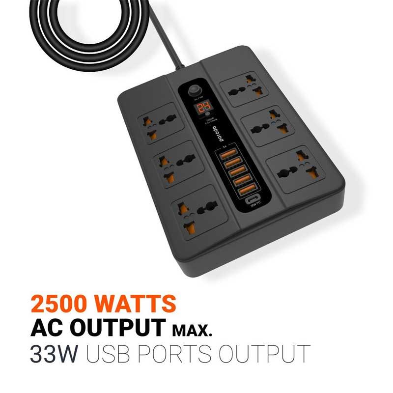 Porodo 5 Multi Port Super Hub 5 Usb 6 Ac Output 1 Usb C Pd (4)