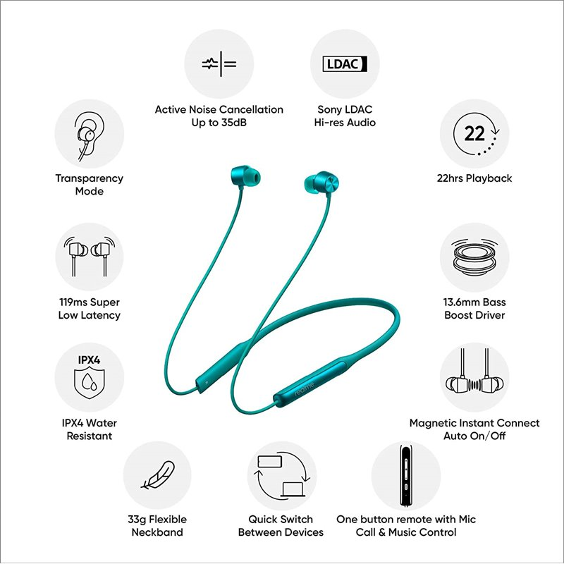 Realme Buds Wireless Pro Active Noise Cancellation Anc Green (5)