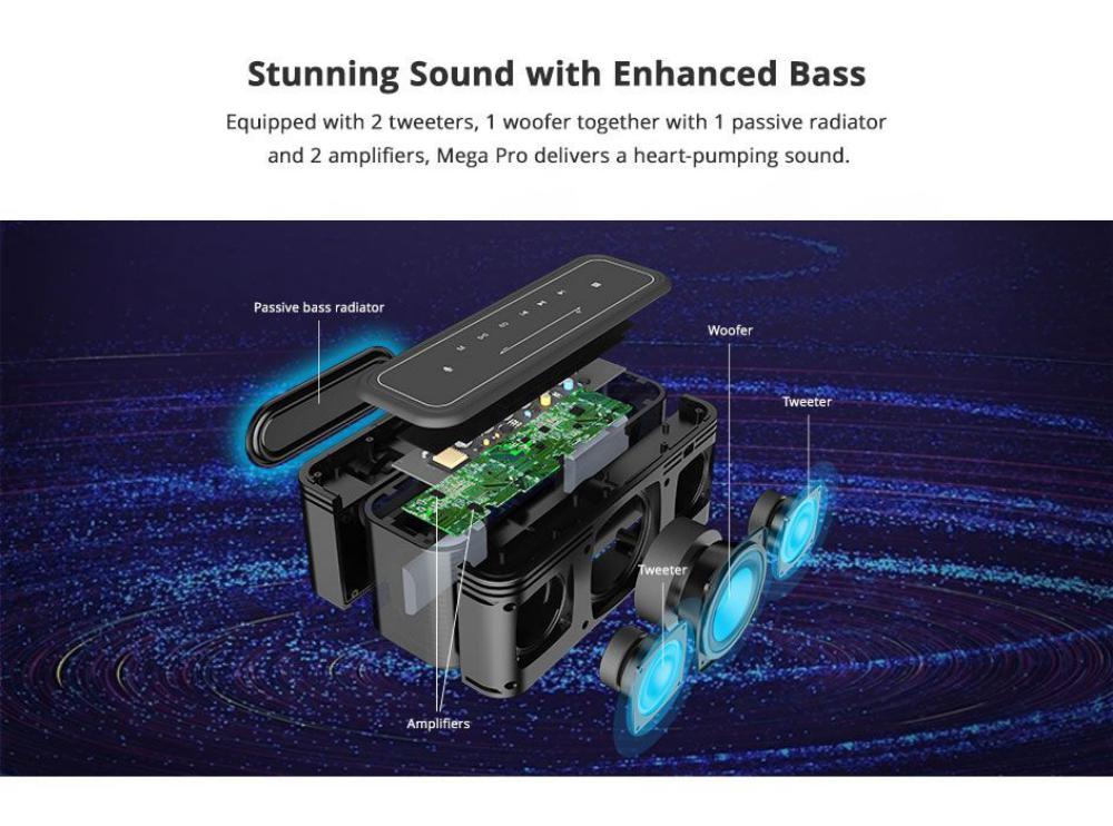 Tronsmart Mega Pro 60w Enhanced Bass Tws Nfc Ipx5 Portable Speaker (5)