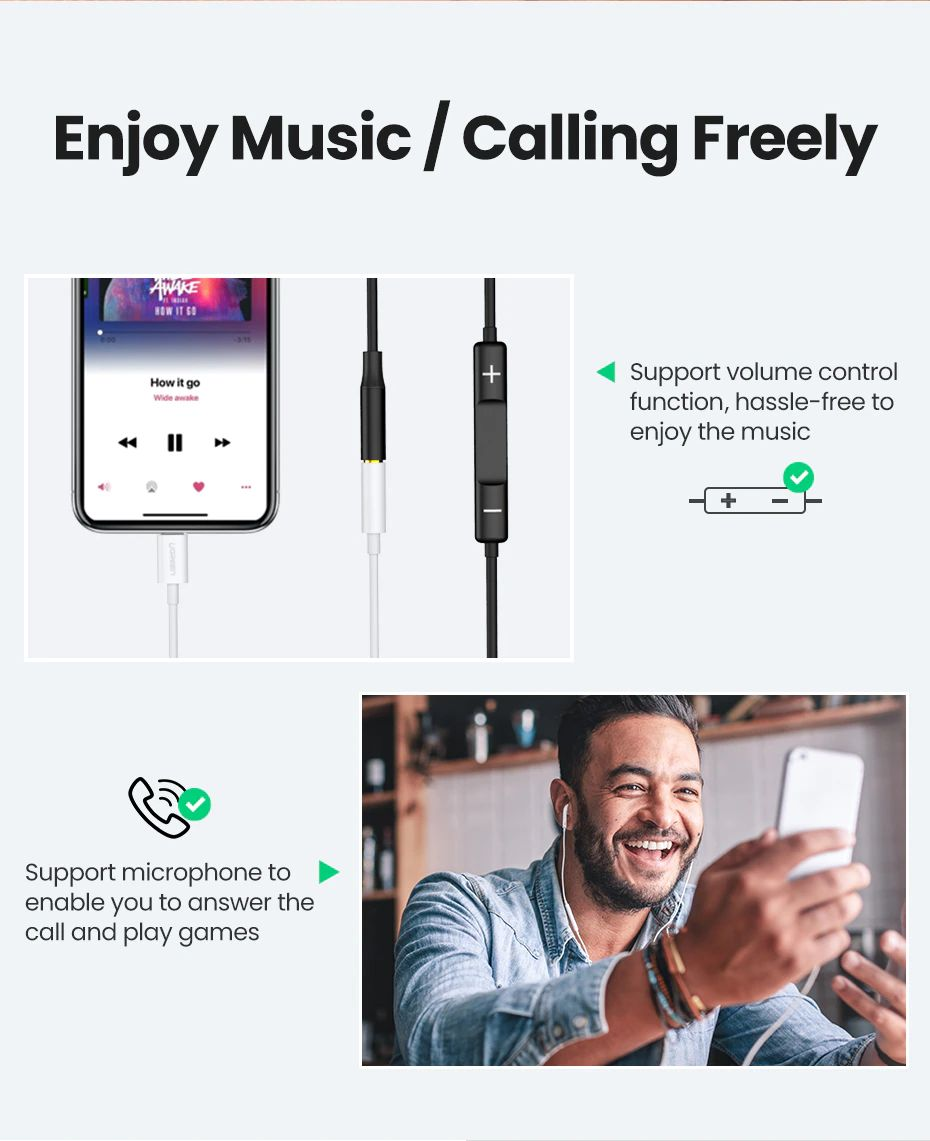 Ugreen Lightning To 3 5mm Jack Headphones Adapter Apple Mfi Certified (2)