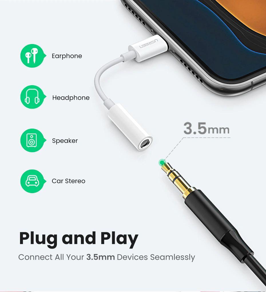 Ugreen Lightning To 3 5mm Jack Headphones Adapter Apple Mfi Certified (5)