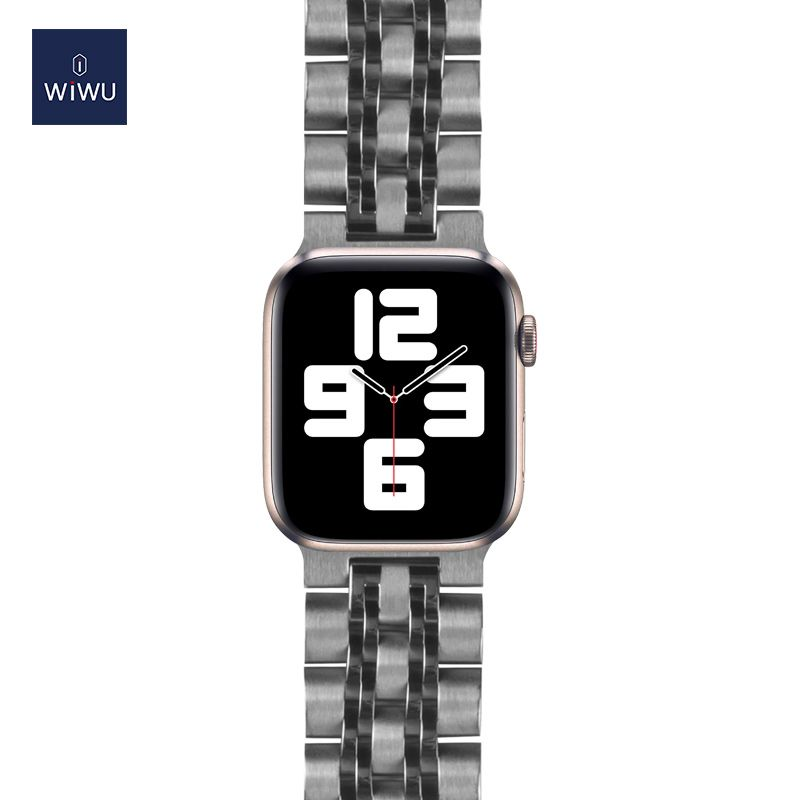 Wiwu Band 7 Beads Metal Stainless Steel Watch Band Strap For Apple Watch Silver (5)
