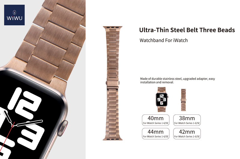 Wiwu Metal Stainless Steel Watch Band Strap For Apple Watch Silver (1)