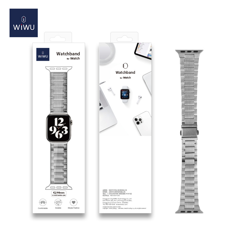 Wiwu Metal Stainless Steel Watch Band Strap For Apple Watch Silver (4)