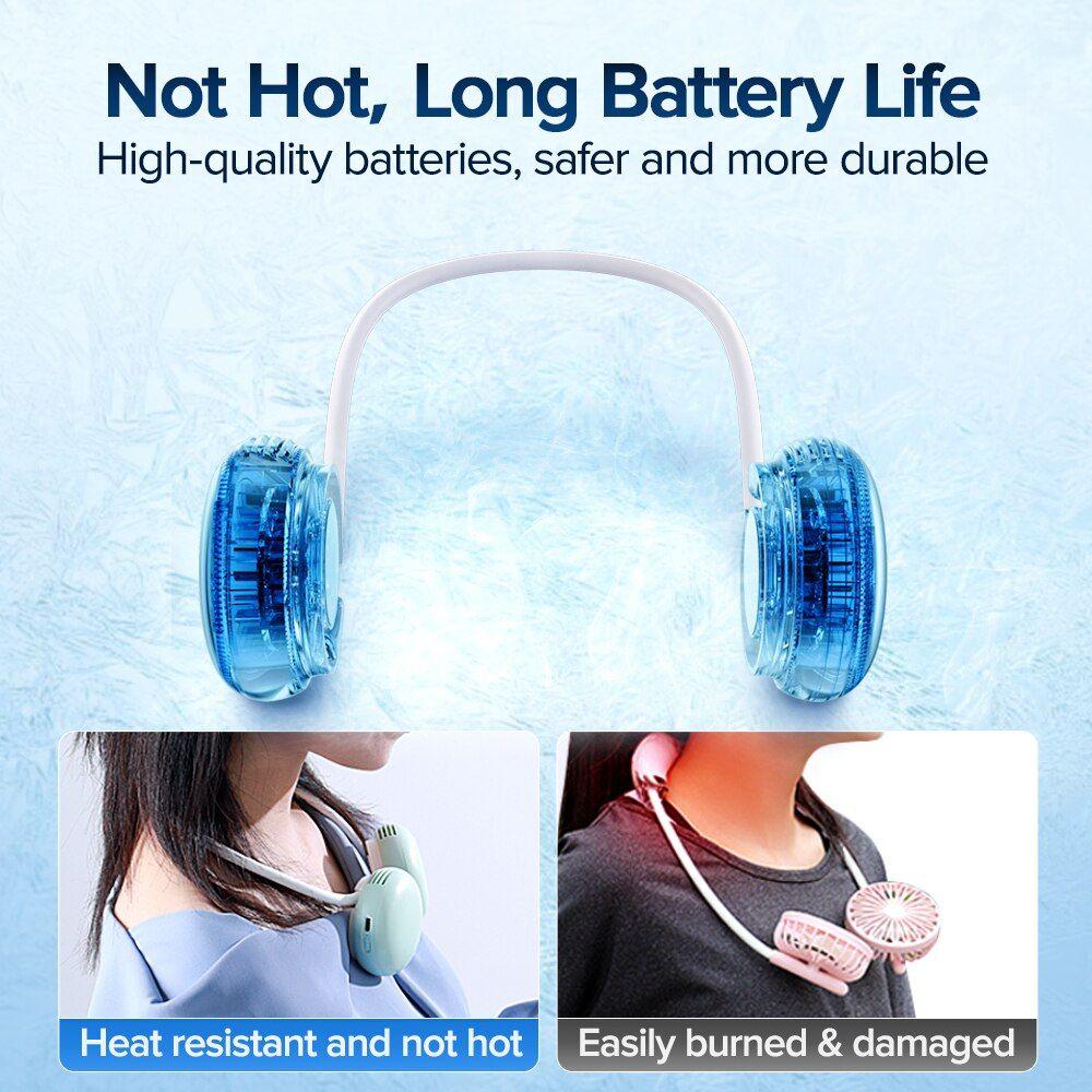 Joyroom Mini Neck Fan Portable Bladeless Fan Rechargeable Leafless Hanging Fans Air Cooler Cooling Wearable Neckband (2)