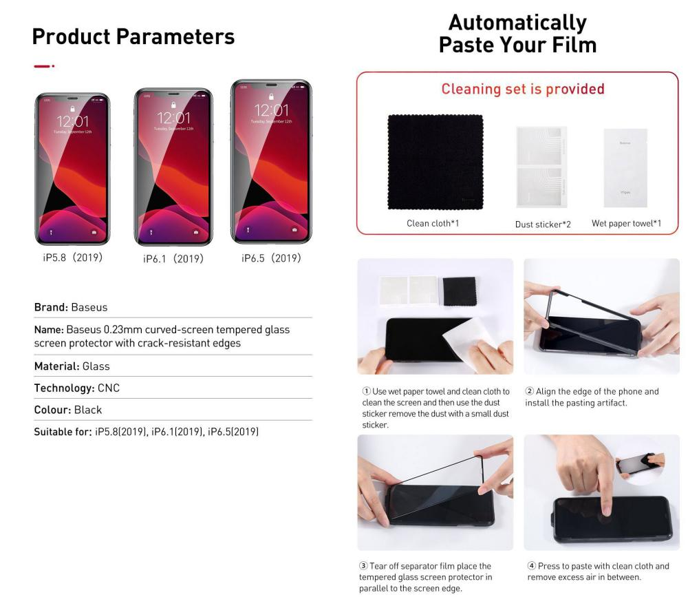 Baseus 0 23mm Curved Screen Tempered Glass Screen Protector For Iphone 11 Pro Iphone Xs Ip (4)