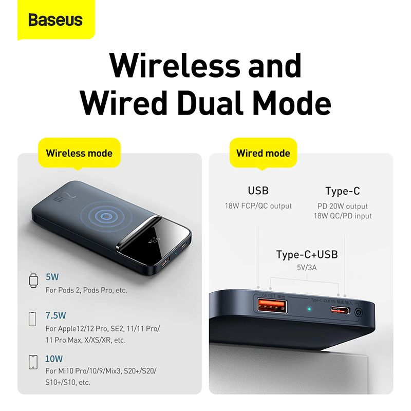 Baseus 10000mah Portable 20w Magnetic Wireless Charger Power Bank (2)